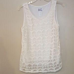 Madison & Berkeley crocheted lace type tank top XL